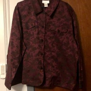 Susan Graver plum and black jean-style jacket